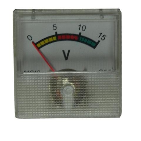 Voltmeter analógový mini, 15V DC